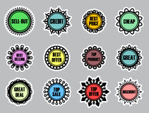 Collection of color labels Stock Image