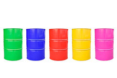 Collection color of  metal barrel isolaled on white. Royalty Free Stock Images