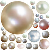 Collection of color pearls isolated on white. Stock Images