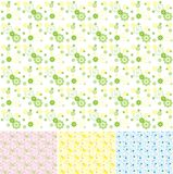 Collection of the color seamless textures. With flowers vector illustration