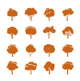 Collection of Color Trees. Royalty Free Stock Photos
