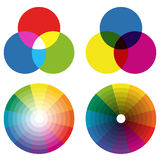 collection of color wheels with overlaying colors Stock Photo