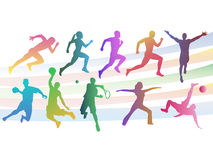 Collection of colored athletes in different poses Royalty Free Stock Image