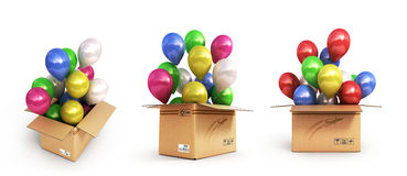 Collection of colored balls in a cardboard box for deliveries is Stock Photo