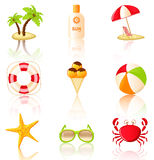 Collection of colored beach icons. Royalty Free Stock Photo
