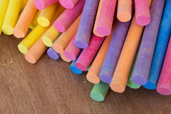Collection of colored chalk stick Stock Photos