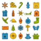 Set of colored Christmas icons in thin line style Royalty Free Stock Photos