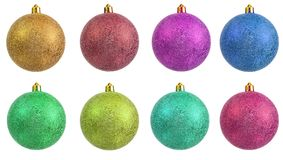 Collection of colored christmas ornament . royalty free stock images