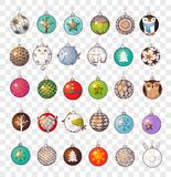 Collection of doodle christmas balls. Collection of colored doodle christmas balls. Vector illustration Stock Images
