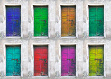 Collection of colored doors Royalty Free Stock Photography