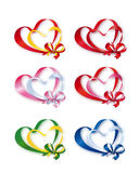 Collection of Colored Double Hearts Stock Photography
