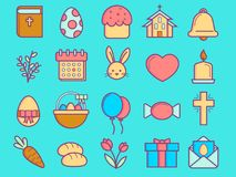Easter colored linear flat icons set stock illustration