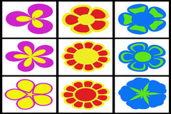 Collection of colored flowers Stock Images