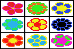 Collection of colored flowers Stock Photography