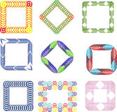 Collection of colored geometric abstract frames Royalty Free Stock Photos
