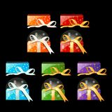 Collection of colored gift boxes with ribbons. On black background. Image in cartoon style. Festive set of different packing. Vector illustration Stock Image