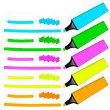 Collection of colored highlighters with markings Stock Photos