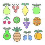 Collection of colored icons of fruits and berries. Organic food template. Healthy meal concept isolated on white background. Vector illustration royalty free illustration