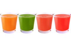 Collection of colored juice isolated on white background. Collection of smoothie isolated on white background as package design element stock photo