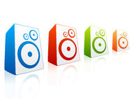 Collection of colored loud speakers Royalty Free Stock Images