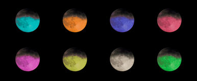 Collection of colored moons Royalty Free Stock Photo