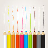 Collection of colored pencils Royalty Free Stock Images
