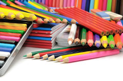 Collection colored pencils Stock Photo