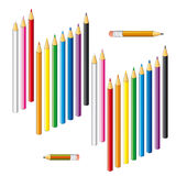 Collection of colored pencils on a white background. Royalty Free Stock Photos