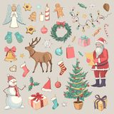 Collection of colored sketches Christmas Royalty Free Stock Image