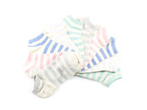 Collection of colored socks isolate on white background Royalty Free Stock Photo
