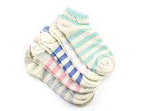 Collection of colored socks isolate on white background Stock Photography