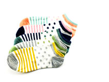 Collection of colored socks isolate on white background Stock Photo