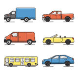 Collection of colored thin line transportation icons. Set of colored transportation icons in thin line style. Various vehicles - car, truck, bus Stock Photography