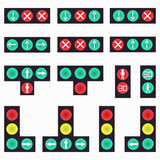 Collection of colored traffic lights abstract symbols Stock Photos