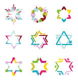 Collection of colorful abstract star icons Royalty Free Stock Image