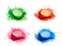 Collection of colorful abstract watercolor backgro Stock Photo