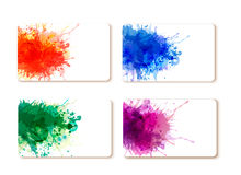 Collection of colorful abstract watercolor banners Stock Photos