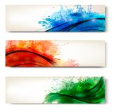 Collection of colorful abstract watercolor banners stock illustration