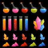 Collection of colorful alchemy elements for kids Stock Photos