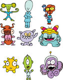 Collection of Colorful Aliens Royalty Free Stock Image
