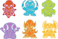 Collection of Colorful Aliens Stock Photo