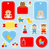 Collection of colorful baby`s stickers Royalty Free Stock Images