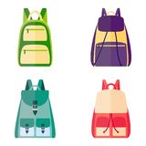 Set of colorful backpacks, vector illustration Stock Photos