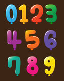 Collection of Colorful Baloon Shaped Numbers Royalty Free Stock Photography