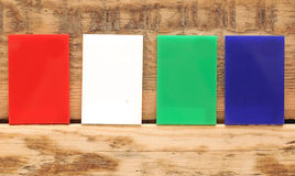Collection of colorful banner. On wooden wall Royalty Free Stock Photos