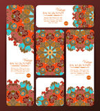 Collection of colorful banners and business cards. Vintage decorative templates. Stock Photography