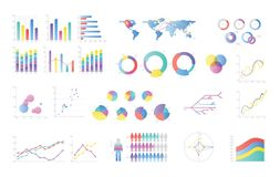 Collection of colorful bar charts, pie diagrams, linear graphs, scatter plots. Statistical and financial data. Visualization and representation. Vector Stock Photo