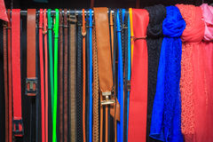 Collection of Colorful  Belts on Rack Royalty Free Stock Photography