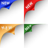 Collection of colorful bent corners new. Vector eps 10 Royalty Free Stock Photo