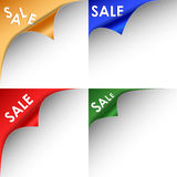 Collection of colorful bent corners sale. Vector eps 10 Stock Photography